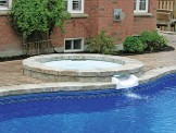 spillover spa, spill over waterfall, hot tub in pool